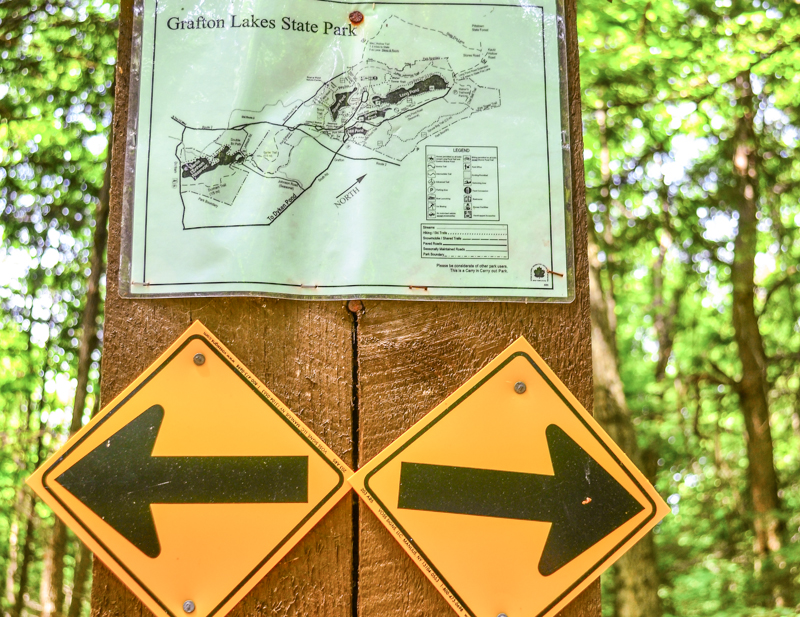 Grafton Lakes State Park sign